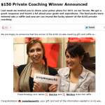 $150 Private Coaching Winner Announced